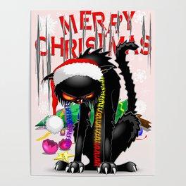 Evil Black Cat VS Christmas Tree Poster