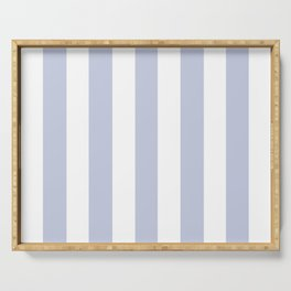 Light periwinkle blue - solid color - white vertical lines pattern Serving Tray