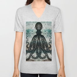 Octopus In Stormy Water Unisex V-Neck
