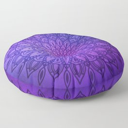 Dark Mandala on Purple, Pink and Navy Floor Pillow