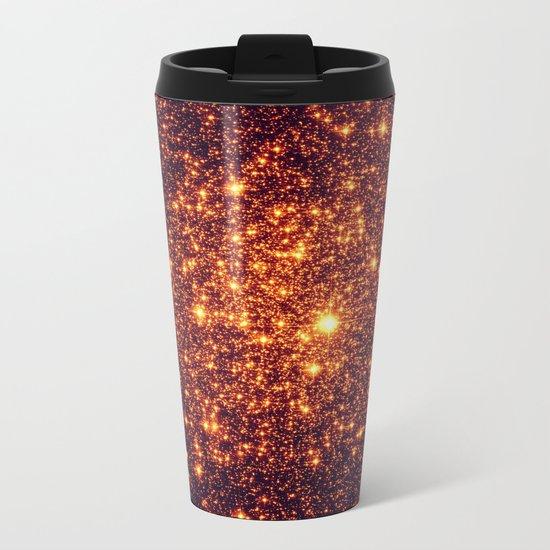 Copper Bronze Glitter Stars Metal Travel Mug