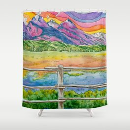 Vibrant Mountains Shower Curtain