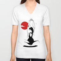 yoga V-neck T-shirts featuring Yoga by rbengtsson