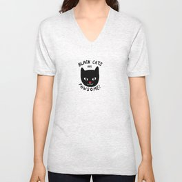Black Cats are Pawsome! Unisex V-Neck
