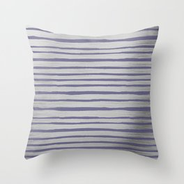 Violet gray silver watercolor brushstrokes stripes Throw Pillow