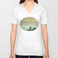 the little mermaid V-neck T-shirts featuring Little Mermaid by Kim Bajorek