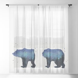 Forest Bear Silhouette Watercolor Galaxy Sheer Curtain