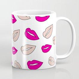 Modern neon pink millennial pink lips hand drawn pattern Coffee Mug