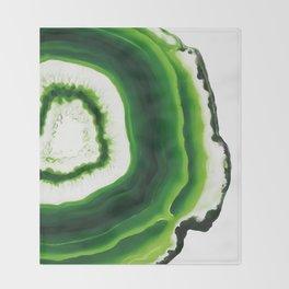 Green Agate Geode slice Throw Blanket