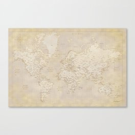Vintage world map in sepia and gold, Kellen Canvas Print