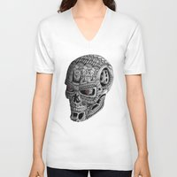 terminator V-neck T-shirts featuring Ornate Terminator by Adrian Dominguez