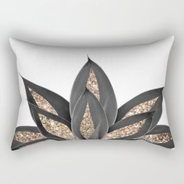 Gray Black Agave with Gold Glitter #2 #shiny #tropical #decor #art #society6 Rectangular Pillow