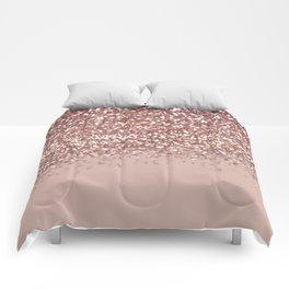 Glam Rose Gold Pink Glitter Gradient Sparkles Comforters