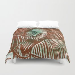 Don Quixote in Green and Rust Duvet Cover