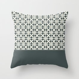 Pantone Cannoli Cream Square Petal Pattern on PPG Night Watch Pewter Green Throw Pillow