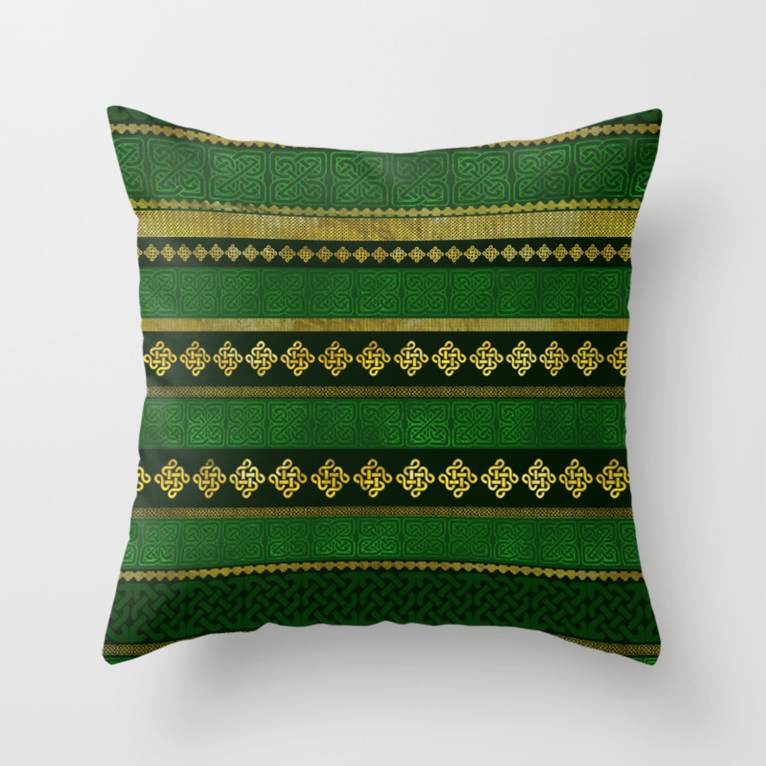 Celtic Knot Decorative Gold And Green Pattern Throw Pillow By K9printart Society6