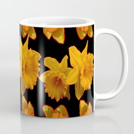GOLDEN DAFFODILS GARDEN  COFFEE BROWN-BLACK ART Coffee Mug