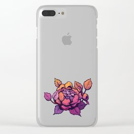 Peony flower blossom in ink and gradient Clear iPhone Case