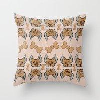 yorkie Throw Pillows featuring New Yorkie by Brianna Heyer