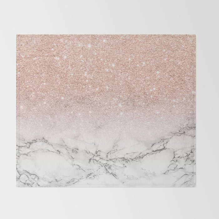 Modern Faux Rose Gold Pink Glitter Ombre White Marble