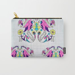 pink bird and yellow floral design Carry-All Pouch
