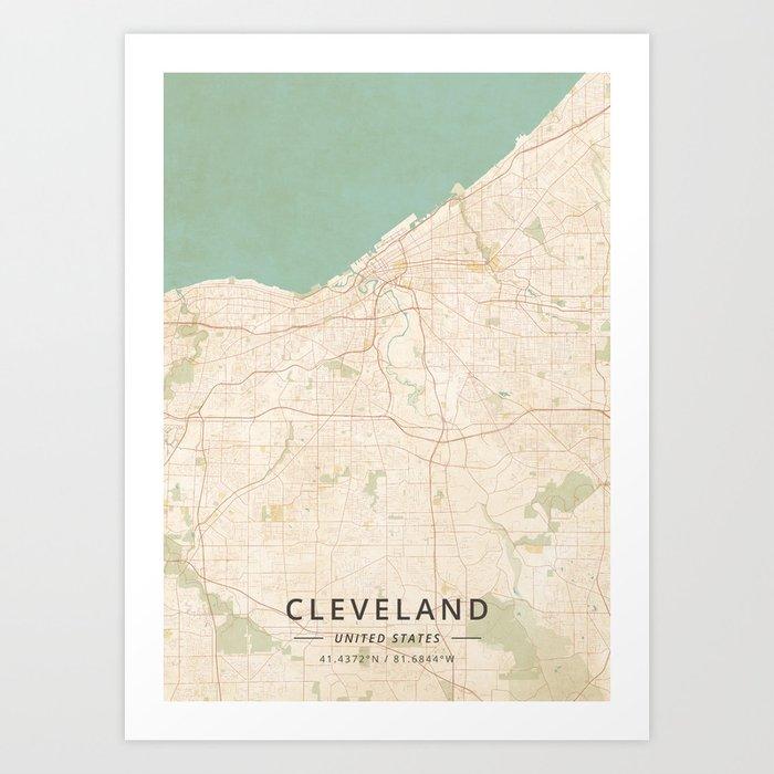 Cleveland United States Vintage Map Art Print By Designermapart - Cleveland-us-map