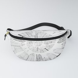 black and white city spiral digital painting Fanny Pack