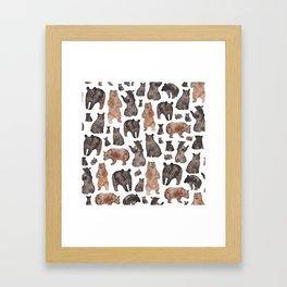 Woodland Bear Pattern Framed Art Print