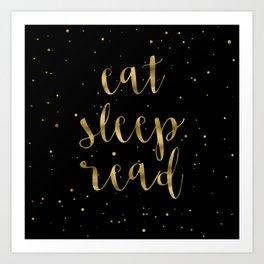Eat, Sleep, Read (Stars) - Gold Art Print
