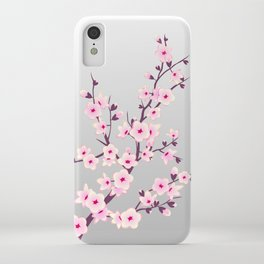 Cherry Blossoms Pink Gray iPhone Case