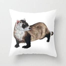 Black-Footed Ferret Throw Pillow
