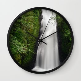 Beautifull mountain waterfall in a forest Wall Clock