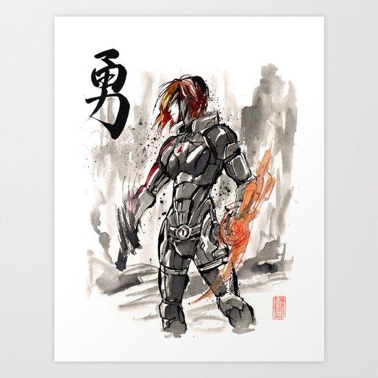 Mass Effect Commander Shepard Female Sumie Style Art Print