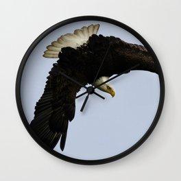 The Descent - Bald Eagle Wildlife Art Wall Clock