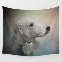 terrier Wall Tapestries featuring Bedlington Terrier by Jai Johnson