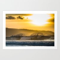 Sunset Surfing over Off The Wall, Hawaii Art Print