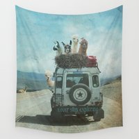 lama Wall Tapestries featuring NEVER STOP EXPLORING II SUMMER EDITION by Monika Strigel