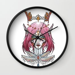 Of Earth and Sky in pink Wall Clock