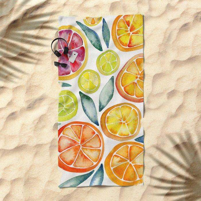 Sliced Citrus Watercolor Beach Towel