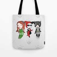 gotham Tote Bags featuring Gotham Sirens by BatSpats