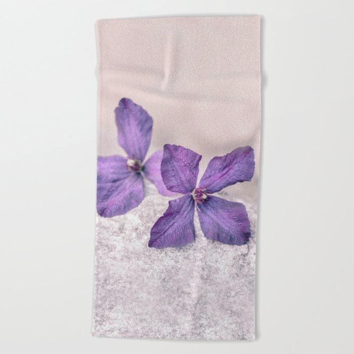Zen Soft Pastel Purple Clematis Blossom Beach Towel