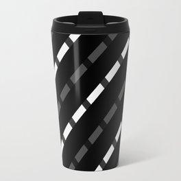 black white gray stripes dashed lines abstract 3d geometric Travel Mug