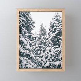Snow Falling on Pine Trees Framed Mini Art Print