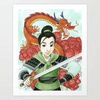 mulan Art Prints featuring Mulan by Aimee Steinberger