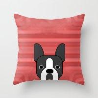 boston terrier Throw Pillows featuring Boston Terrier  by lllg