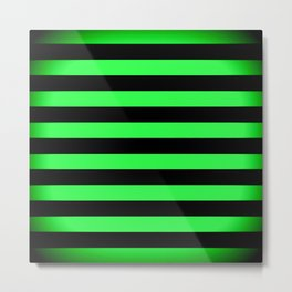 Stripes Green & Black Metal Print