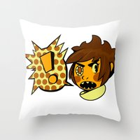 sticker Throw Pillows featuring Chip sticker by marvelousghost