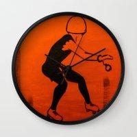 pivot Wall Clocks featuring Manhattan Mayhem by JezRebelle