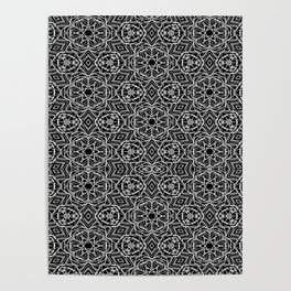 Black and white mystical Kaleidoscope 5010 Poster