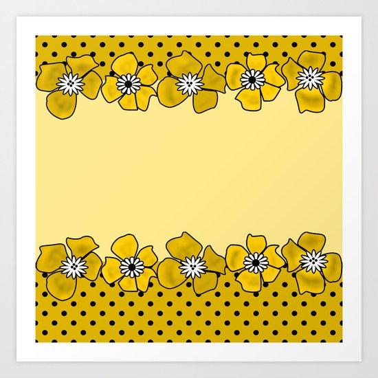 Yellow floral pattern . Art Print